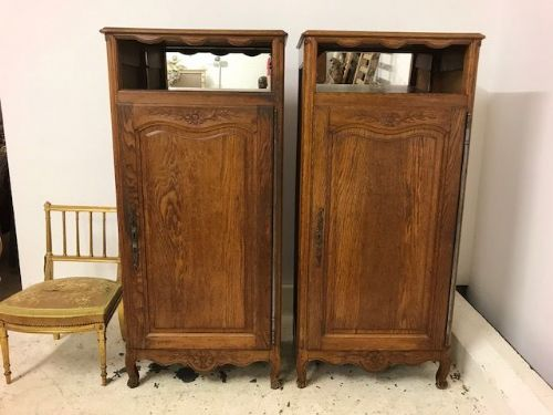 Pair Of Oak French Cupboards / Cabinets - b83